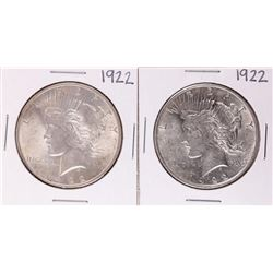 Lot of (2) 1922 $1 Peace Silver Dollar Coins