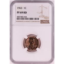 1963 Proof Lincoln Memorial Cent Coin NGC PF69RD