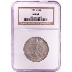 1941-S Walking Liberty Half Dollar Coin NGC MS62