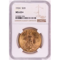 1924 $20 St. Gaudens Double Eagle Gold Coin NGC MS65+