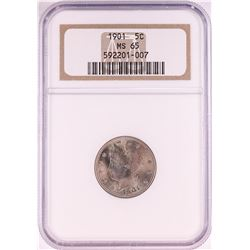 1901 Liberty V Nickel Coin NGC MS65