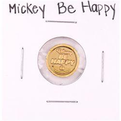 "Rarities Mint Disney Mickey ""Be Happy"" 1 Gram .999 Fine Gold Round"