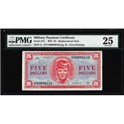Series 611 $5 Replacement Military Payment Certificate Note PMG Very Fine 25