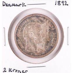 1892 Denmark 2 Kroner Silver Coin