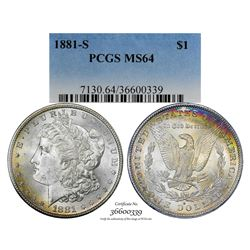 1881-S $1 Morgan Silver Dollar Coin PCGS MS64 Amazing Toning