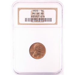 1929 Lincoln Wheat Cent Coin NGC MS64RD