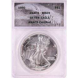 1990 $1 American Silver Eagle Coin ANACS MS69