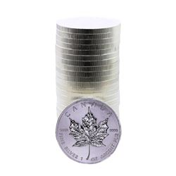 Roll of (25) Brilliant Uncirculated 2013 $5 Canada $5 Maple Leaf 1 oz. Silver Coins