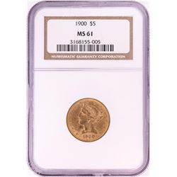 1900 $5 Liberty Head Half Eagle Gold Coin NGC MS61