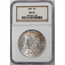 1887 $1 Morgan Silver Dollar Coin NGC MS63 Nice Toning