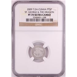 2009 T.DA Cunha 1/10 oz St. George & Dragon Platinum Coin NGC PF70 Ultra Cameo