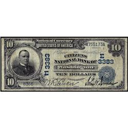1902DB $10 Citizens NB of Washington, PA CH# 3383 National Currency Note