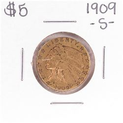 1909-S $5 Indian Head Half Eagle Gold Coin