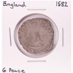 1582 England 6 Pence Silver Coin