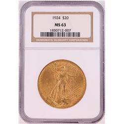 1924 $20 St. Gaudens Double Eagle Coin NGC MS63