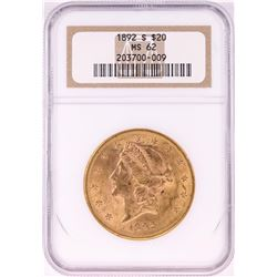 1892-S $20 Liberty Head Double Eagle Gold Coin NGC MS62
