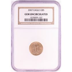 2007 $5 American Gold Eagle Coin NGC Gem Uncirculated