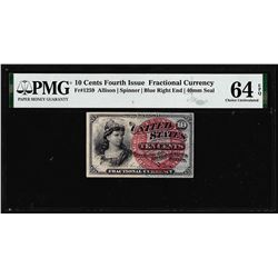 1863 10 Cent Fourth Issue Fractional Currency Note Fr.1259 PMG Ch. Uncirculated 64EPQ