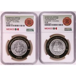 Lot of (2) 2014Mo Mexico 100 Pesos Bi-Metal Silver Coins NGC PL69
