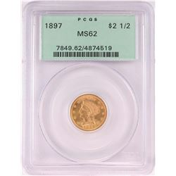 1897 $2 1/2 Indian Head Quarter Eagle Coin PCGS MS62 Old Green Holder