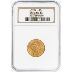 1904 $5 Liberty Head Half Eagle Gold Coin NGC MS63 Bass Collection