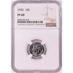 1955 Proof Roosevelt Dime Coin NGC PF69
