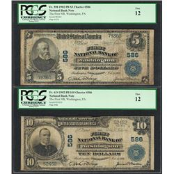 1902PB $5/10 First NB of Washington, PA CH# 586 National Currency Notes PCGS Fine 12