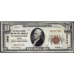 1929 $10 Peoples Bank & Trust of Washington, Indiana CH# 3842 National Currency Note