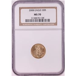 2008 $5 American Gold Eagle Coin NGC MS70