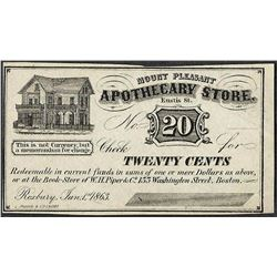 1863 Twenty Cents Mount Pleasant, MA Apothecary Store Obsolete Bank Note