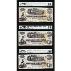 (3) Consecutive 1862 $100 Confederate States of America Notes PMG Ch. Uncirculated 63EPQ