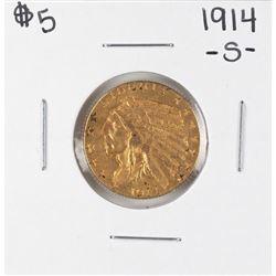 1914-S $5 Indian Head Half Eagle Gold Coin