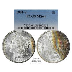 1881-S $1 Morgan Silver Dollar Coin PCGS MS64 Amazing Toning
