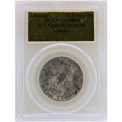 1854-So S.S. Central America 50 Centavos Treasure Coin PCGS Certified