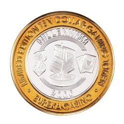 .999 Silver Eureka Casino Mesquite, NV $10 Limited Edition Gaming Token