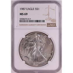 1987 $1 American Silver Eagle Coin NGC MS69