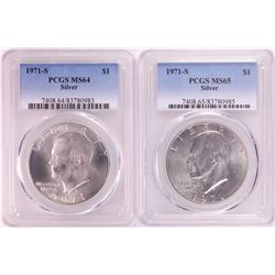 Lot of (2) 1971-S Eisenhower Silver Dollar Coins PCGS MS65