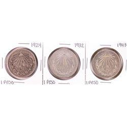 Lot of 1924, 1932, 1943 Mexico Un Pesos Silver Coins
