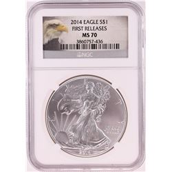 2014 $1 American Silver Eagle Coin NGC MS70 First Releases