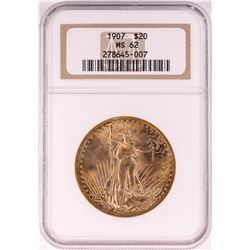 1907 $20 St. Gaudens Double Eagle Gold Coin NGC MS62