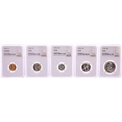 1958 (5) Coin Proof Set Graded NGC PF66/67/68