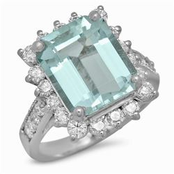 14K White Gold 5.42ct Aquamarine and 1.16ct Diamond Ring