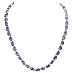14k White Gold 35.89ct Tanzanite 1.73ct Diamond Necklace