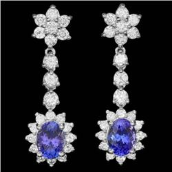 14k Gold 3.21ct Tanzanite 2.17ct Diamond Earrings