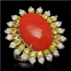 14K Yellow Gold 8.0ct Coral 1.79ct Sapphire and 1.47ct Diamond Ring