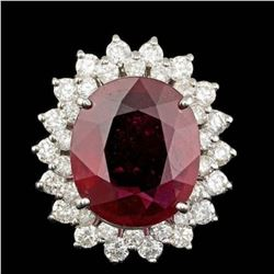 14K White Gold 10.77ct Ruby and 1.82ct Diamond Ring