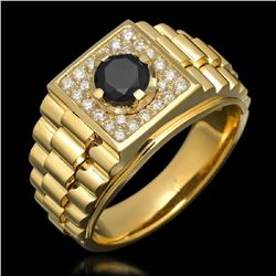 14K Yellow Gold 1.01ct Mens Diamond Ring