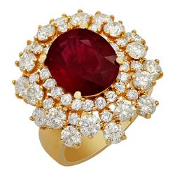 14k Yellow Gold 5.31ct Ruby 3.51ct Diamond Ring