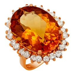 14k Rose Gold 16.15ct Citrine 1.26ct Diamond Ring