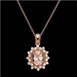 14K Gold Morganite and Diamond Pendant